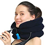 MEDIZED Inflatable Cervical Neck Shoulder Traction Device Improve Spine Alignment Reduce Neck Pain Cervical Collar Adjustable Pillow Stretcher Home Traction (Blue)