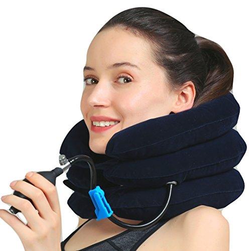 MEDIZED® Inflatable Cervical Neck Shoulder Traction Device Improve Spine Alignment Reduce Neck Pain Cervical Collar Adjustable Pillow Stretcher Home Traction (Blue)