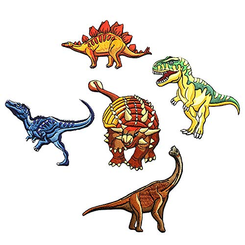 5 Pcs Dinosaur World Embroidered Patches,Jurassic Dinosaur Iron On Patches, Sew On Applique Patch,Dinosaur Park Cute Embroidery Patches, Cool Patches for Boys, Girls, Kids (T-Rex, Velociraptor, ECT) by ZOOPOLR