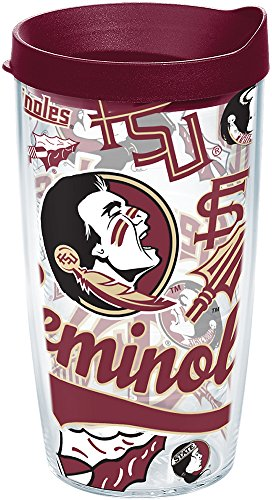 Tervis 1252200 Florida State Seminoles All Over Tumbler With Lid, 16 oz, Clear
