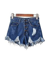 ZongCheng Denim Shorts Pantalones Cortos de Mezclilla para Mujer, Sexy, de Cintura Alta, con borlas rasgadas, para Verano, Talla Grande