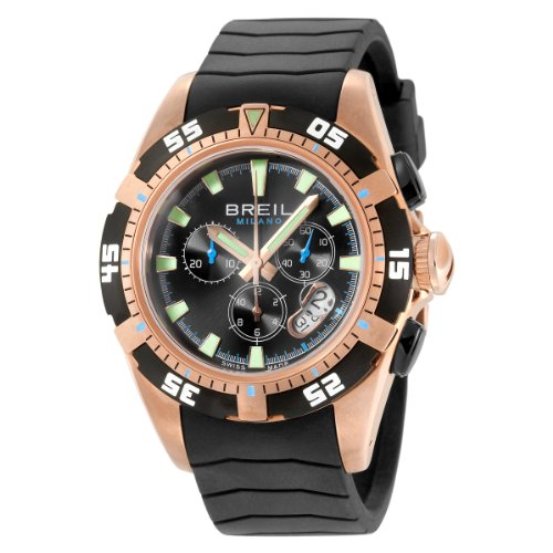 breil men s manta 1970 swiss made chronograph watch bw0410 breil men s manta 1970 swiss made chronograph watch bw0410 45mm rosegold ip color case black dial black bezel and black rubber strap amazon co uk