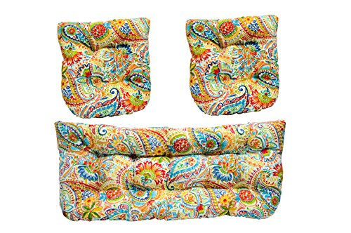 Settee Set (3 Piece Wicker Cushion Set - Indoor / Outdoor Wicker Loveseat Settee & 2 Matching Chair Cushions - Primary Thin Line Floral Paisley)