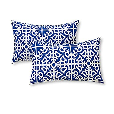 Greendale Home Fashions Rectangle Indoor/Outdoor Accent Pillows, Indigo, Set of 2