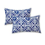 Greendale Home Fashions Rectangle Outdoor Accent Pillow (set of 2), Indigo