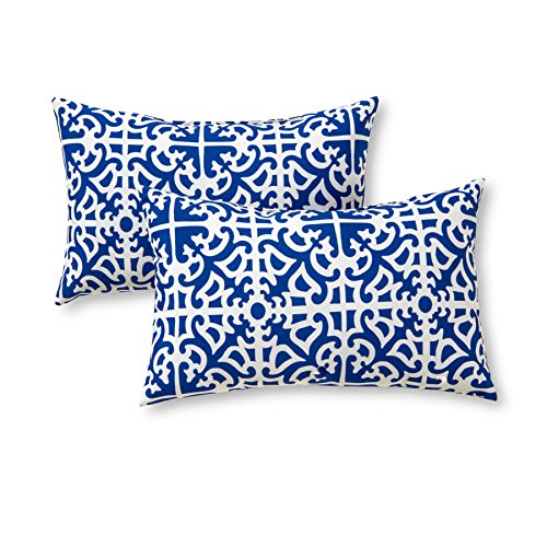 Greendale Home Fashions Rectangle Outdoor Accent Pillow (set of 2), Indigo (White Bench Glider)