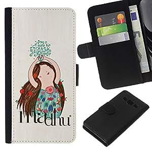 KLONGSHOP // Tirón de la caja Cartera de cuero con ranuras para tarjetas - Trazado Flores Floral Mano - Samsung Galaxy A3 //