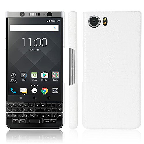 Zshion Case for BlackBerry Keyone ,Croco Premium PU Leather Protective Cases Simple Deurable and Lightweight Case for BlackBerry Keyone (White)