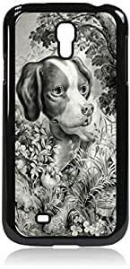 Vintage Puppy- Case for the Samsung Galaxy S4 i9500- Hard Black Plastic Snap On Case with Soft Black Rubber Lining Outer Shell with Inner Soft Black Rubber Lining