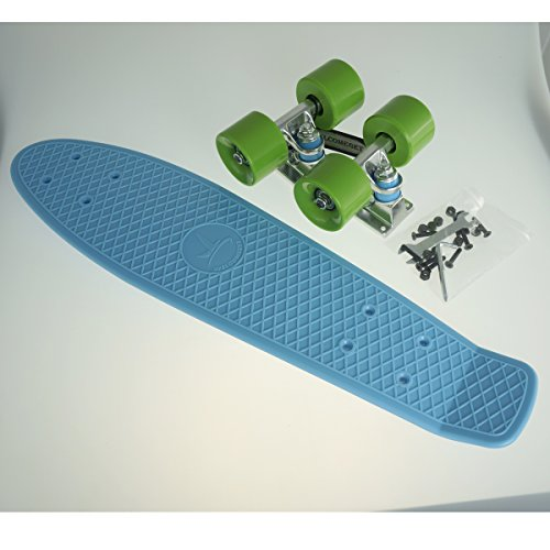 Bl-gn Blank Deluxe Complete Plastic Skateboard Blue Board with Expedited Shipping
