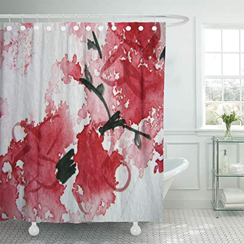 "Emvency Waterproof Fabric Shower Curtain Hooks Pink Modern Abstract Watercolor 13 Red Blossom Cherry Contemporary Extra Long 72""X84"" Bathroom Odorless Eco Friendly Anti"
