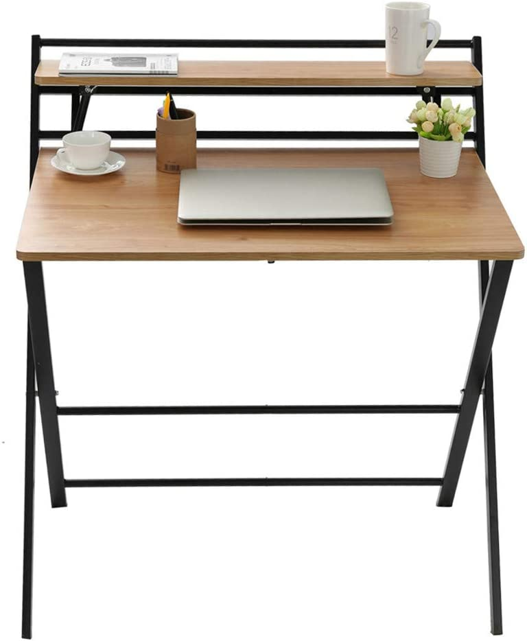 Folding Desk 2 Tier Computer Desk with Shelf Desktop,Laptop Study Table, No Assembly Needed,for Small Space, Computer Gaming, Writing, Student,Home Office Organization, Industrial Metal Frame((Khaki)