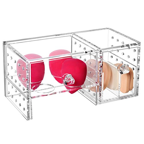 Clear Acrylic Beauty Makeup Sponge Blender Organizer Box, Cosmetic Storage Case