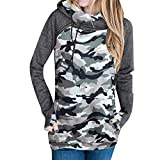 Pandaie Womens Tops, Clearance Tops for Women Casual Hoodie Camouflage Sweatshirt Pullover Tops Blouse Jumper Coat