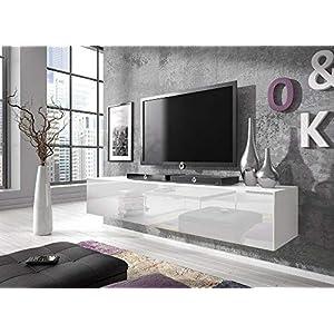 E-com Rocco – Meuble TV Bas, 160 cm, Blanc