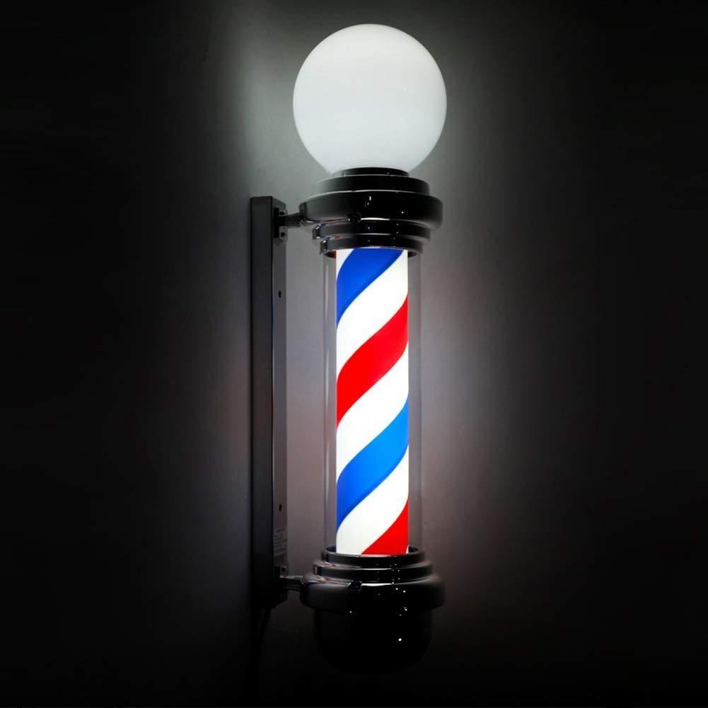 導かれた理髪店の棒、屋内屋外の回転ヘアーサロン理髪店オープンサイン白熱グローブライトレッドホワイトブルーストリップ壁掛け防水 B07SKKKMG3