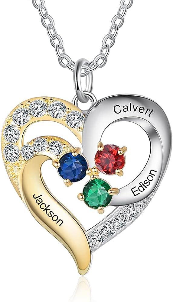 lorajewel Personalizado Collares de Corazón para Mujer de Plata 925 Collares Colgante con 2 Nombres Piedra del Zodíaco de Mujer Colgante de Diamantes Niña