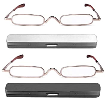 e0455e4236 REAVEE 2 Pack Metal Slim Reading Glasses Spring Hinged Pen Readers Small  Rectangular Mini Portable Tube