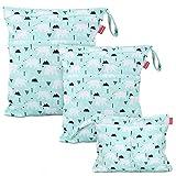 Damero 3Pcs Cute Travel Baby Wet and Dry Cloth Diaper Organizer Bag (Bear)