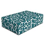 Lunarable Teal and White Pet Bed, Natural Peppermint Leaves Illustration Menthol Medical Botanical Doodle, Animal Mat Foam and Stylish Printed Cover, 24'' x 16'' x 6'', Teal and White