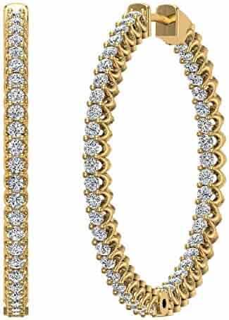 Exquisite 34 mm Diameter Inside Out Diamond Hoop Earrings 1.80 Ctw 14K Gold Shared Prong Setting (J,I1)