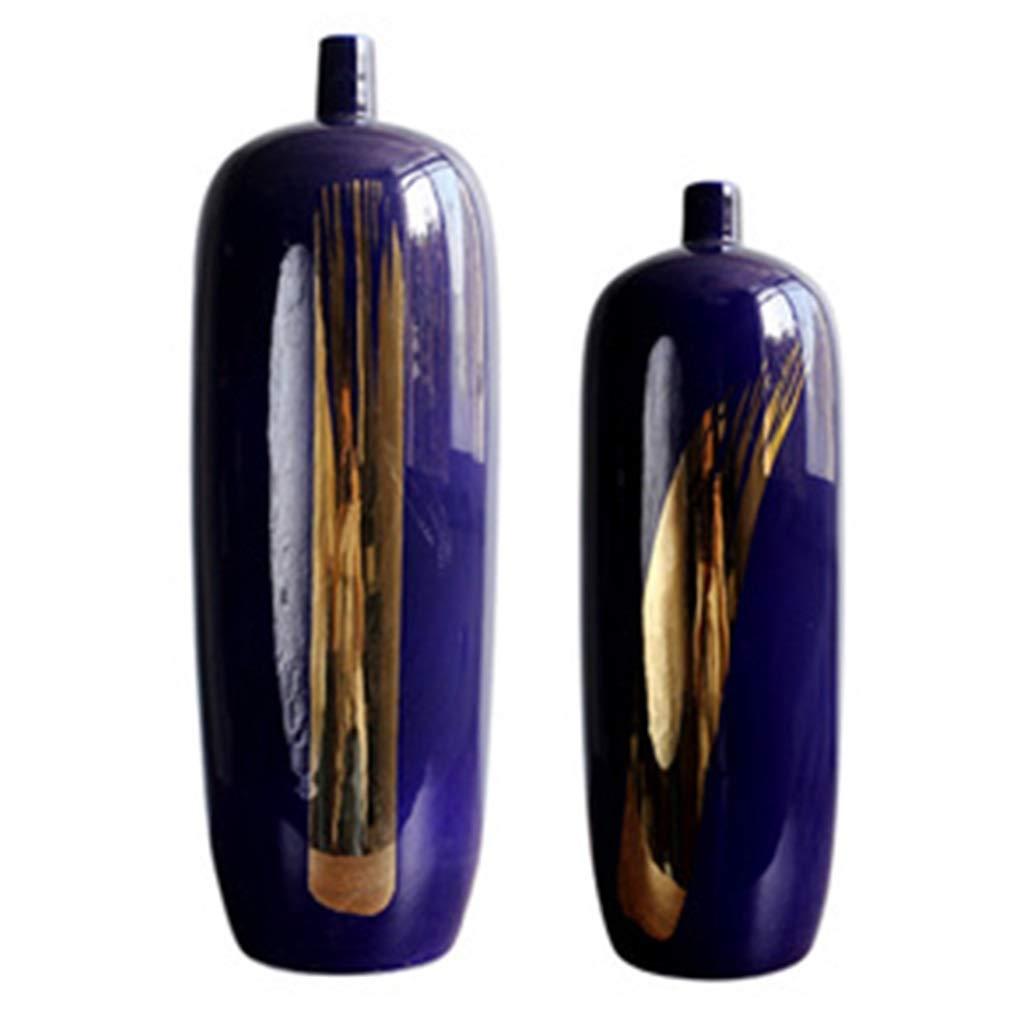 ブルーセラミック花瓶、2セットヨーロッパスタイルの床高温装飾リビングルームホームベッドルーム研究理想的なギフト B07S8S6YPM