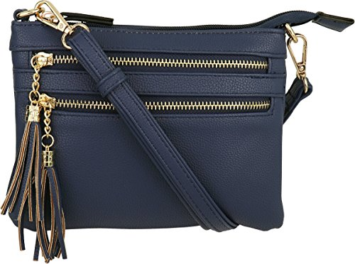 Vegan Mini Multi-Zipper Crossbody Handbag Purse with Tassel Accents (Navy)
