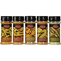 PS Seasoning & Spices French Fry Seasoning Variety Pack 5.5 Ounces Each (5 Flavors); Steak Fry, Chili Cheese, Parmesan & Garlic, Buffalo Wing, & Sweet Potato - Gluten Free -No MSG - Add Great Flavor to Your Meals Without Adding Calories!