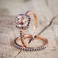 KassarinShop Hot Women 18K Rose Gold Filled Morganite Wedding Engagement Ring Set Party Sz5-10 (6)