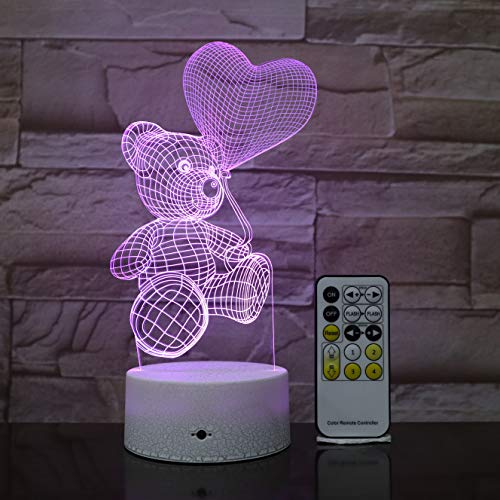 3D Optical Illusion Hologram Night Light for Easter Holiday Gift | Led Lampeez for Kids/Girlfriend/Boyfriend | Premium Present Idea Teddy Bear Heart Design | Remote + Free USB Adapter and Longer Cord
