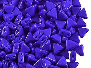 50pcs Kheops par puca Beads–Checa Perlas de impresión de forma triangular, con dos agujeros, 6mm, Sapphire Opaque
