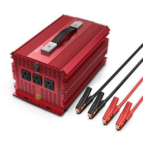 BESTEK 2000W Power Inverter 3 AC Outlets DC 12V to 110V AC Car Converter Aluminium Housing ETL ()