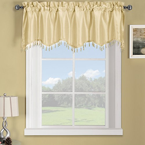 (Sheetsnthings 100% Polyester Ivory Soho Straight Decorative Trim Window Valance 70