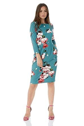 6c2ffba59dd0 Roman Originals Women Floral Pocket Shift Dress - Ladies Round Neck 3 4 Sleeve  Knee