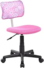 ANJI Swivel Mesh Back Kids Desk Chair With Adjustable Seat Office Task Chair  Pink