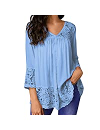 kingf Womens Lace Tops V Neck Long Sleeve Casual Loose Blouse Shirt Plus Size