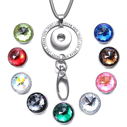 Soleebee 31.5 inches Stainless Steel Lanyard ID Badge Necklace Bonus 9pcs Facets Crystal Glass Snap Charms (TRUST LOVE) -