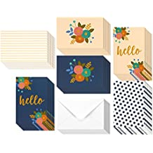48 Pack All Occasion Assorted Blank on the Inside Hello Note Cards for Her - Greeting Card Bulk Box Set - 6 Modern Floral Flower Designs Notecards with Envelopes Included, 4 x 6 Inches