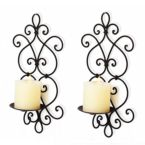 Adeco Decorative Iron Vertical Candle Tealight Pillar Holder Wall Sconce, Antique Vintage Style, Classy Home Decor Accents, Set of Two