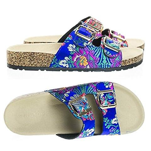 Defeat14 Blue Embroidered Molded Footbed, Casual Slide In 2 strap Cork Platform Flat Sandal -6 - Cork Platform Sandals