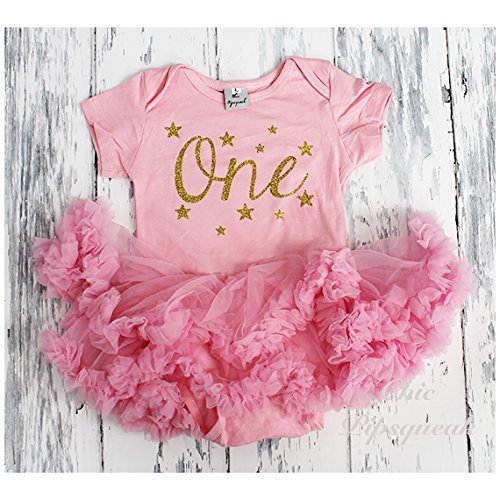 a005d00105 Image Unavailable. Image not available for. Color  Pink and Gold First  Birthday Outfit