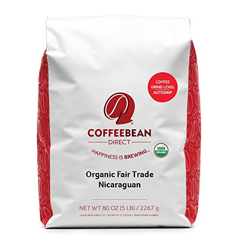 Coffee Bean Unmitigated Nicaraguan, Shade Grown Organic Fair Trade Ground Coffee, 5-Pound Bag