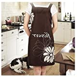 100% of Polyester Apron, Anxinke Korean Fashion Style Cleanlily Brown Kitchen Chef Towel Apron with Floral Pattern