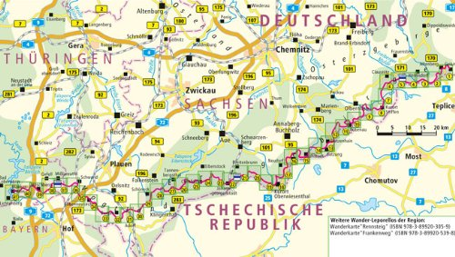 Kammweg Erzgebirge Vogtland Leporello Wanderkarte Mit