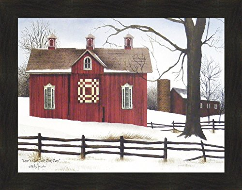 lock Barn by Billy Jacobs 22x28 Red Barn Winter Snow Country Primitive Folk Art Print Wall Décor Framed Picture ()