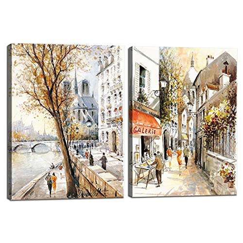 (2 Pieces Canvas Wall Art Beautiful Street View of Paris Modern Home Decor Gifts,Stretched and Framed+Waterproof Canvas,Prints Oil Paintings Posters for Living Room Wall Decor Giclee Art(24''W x 16''H))