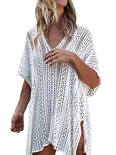 107b17676b Womens Crochet Swimsuit Cover Up Plus Size Bathing Suit Swimwear Long Bikini  Dress