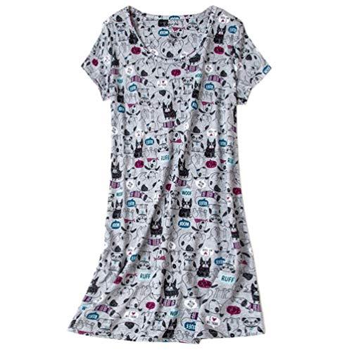 - ENJOYNIGHT Women's Sleepwear Cotton Sleep Tee Short Sleeves Print Sleepshirt (Small, Grey Dog)