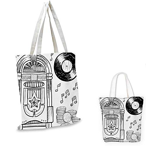 Jukebox canvas messenger bag Doodle Style Retro Music Box Notes Coins Long Play Vintage Sketchy Artwork canvas beach bag Black and White. 14