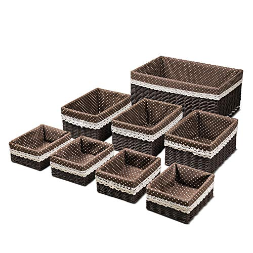 Flexzion Storage Baskets Woven with Liner - Nesting Decorative Organizing Wicker Basket Utility Small & Large 8 Piece Set for Shelves Closet Pantry Kitchen Bathroom Bedroom Changing Table ()